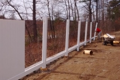 6 Foot White Vinyl Privacy Fence Going In Londonderry, NH